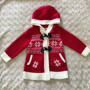Little Lass 12 Months Sweater Snowflakes Mittens
